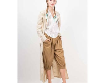 Vintage Adini culottes / 1970s 1980s Olive cotton linen knee length knickers / Baggy fit breeches /