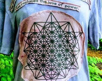 power.of.love ~ herbal dyed repurposed organic cotton tee shirt w sacred geometry grid, & beautiful message