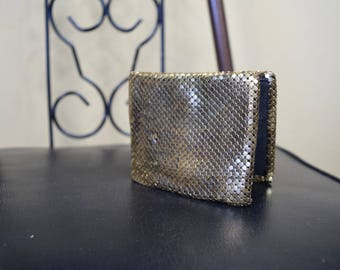 Vintage Gold Mesh Chainmail Bifold Wallet with Black Cloth Inside