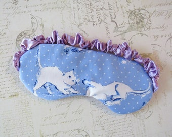 Playful Kittens Sleep Mask in Blue, Lavender // Cotton & Satin Eye Mask