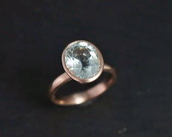 Aquamarine and 14k Rose Gold Ring, Oval Aquamarine Solitaire, Alternative Engagement, March Birthstone, One of a Kind, Ready to Ship Size 7