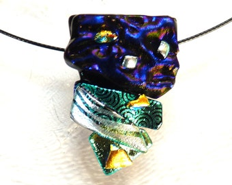 Fused glass pendant ~ Colourful Glass Necklace, Dichroic Pendants, Jewelry Gifts for Women One of a Kind Gift for Her present for Mum Friend