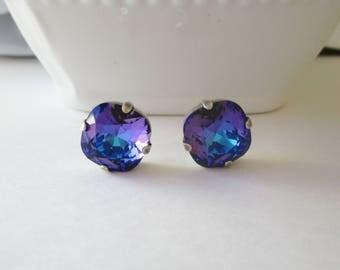 Purple Blue Earrings, Swarovski Crystals, Stud Earrings, Bridesmaid Earrings, Purple Earrings, Blue Earrings, Heliotrope, Cushion Cut