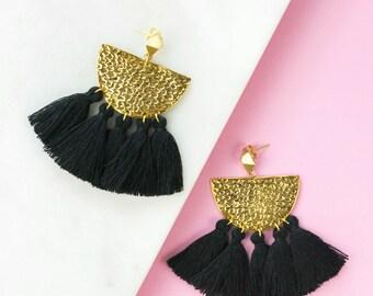 Black Fringe Earrings, Tassel Earrings, Boho Earrings, Modern Earrings, Statement Earrings, Drop Earrings, Black Earrings, Gifts for her