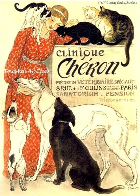 "Clinque Cheron, Alphonse Mucha, 5""x7"" Greeting Card, + Envelope, Cats, Dogs, Red, Beige, Black, Forgotten Art Card, Pretty Girl Postcards"