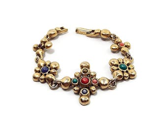 Vintage Link Bracelet Antiqued Gold Tone Multi Color with Snap Over Clasp Retro 1980s 80s Boho Jewelry