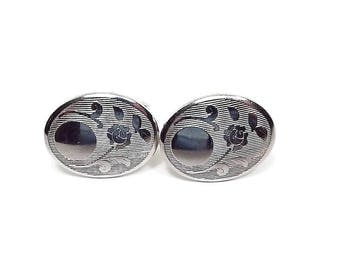Rose Flower Vintage Cufflinks Silver Tone Textured Oval Retro 1970s 70s Hipster Jewelry