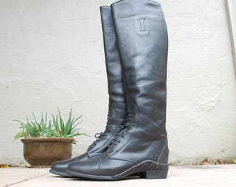 Vintage Womens 9 Regular Ariat Tall Pull On Riding Boots Boot Field Boots Black Leather Biker Rider Hipster Boho Boots Equestrian Ranch