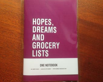 Hopes, Dreams and Grocery Lists, Funny Notebook, 60 Lined Pages, Handmade Notebook, Purple Notebook, Journal, Stationery, Jotter