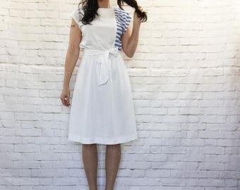 Vintage 70s Sailor Striped Belted Midi Dress M L Cap Sleeve Boatneck Sash Belt White Blue