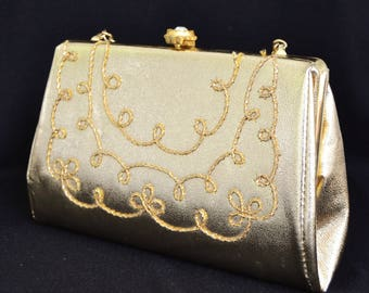 Vintage Gold Vinyl Handbag or Clutch with Woven Accents and Rhinestone Clasp