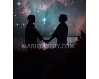 Romantic Wall Art Print, Stars and Planets, Silhouette of Couple, Valentine's Day, 8.5 x 11 Inch Collage Art Print