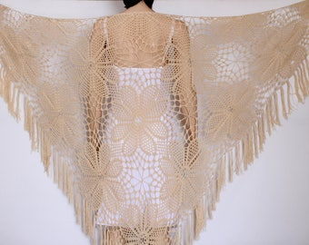 Beige Crochet Shawl   Extra large Crocheted  shawl Tan Crochet Shawl  wrap