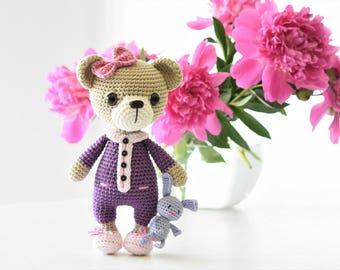 PATTERN - Sleepy Ida and Itsy-bitsy bunny - amigurumi crochet pattern, PDF