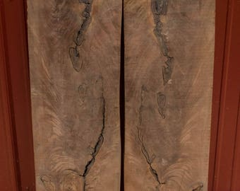 """Rough Air Dried Bookmatched Walnut Crotch Pieces with Knots, 11.5"""" x 32"""" - 38"""" x 1"""" thick"""