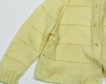 1960s Girl's Vintage Yellow Toddler Sweater Jumper | 4DD
