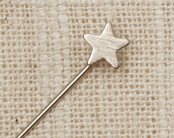 Star Stick Pin Silver Dainty Etched Vintage Stickpin 7R