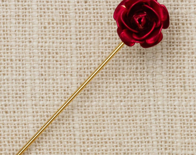 Red Rose Stick Pin GoldVintage Stickpin 7R