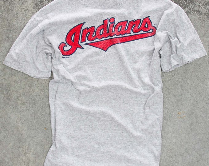 Vintage Indians T Shirt Size LARGE Cleveland Ohio 1995 Made in USA Heather Gray Tee Shirt | Baseball | Cotton Poly Blend 7W
