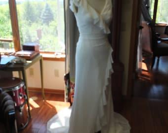 Chiffon wedding dress ruffles wrap dress feminine bridal gown sz 2/4