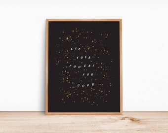 Magic Powers Art Print // black, white, gold, neutral, goth, witchy, magic, astrology, harry potter, wizard, modern, minimalist, home decor