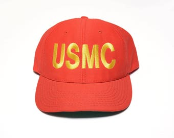 vintage 80s USMC hat snapback cap red hat US Army Marines Corp embroidered hat 1980 vintage hat Eagle Crest USA