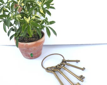 Vintage Brass Keys Set Heavy Quality Paperweight Skeleton Brass Key Hook Brass Key Chain Brass Key Ring Brass Decor Hooks and Fixtures