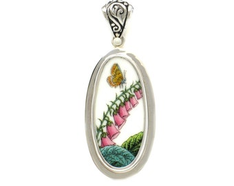 Broken China Jewelry Portmeirion Botanic Butterfly on Pink Foxglove Flowers Sterling Tall Oval Pendant