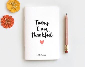 Stocking Stuffer, Gratitude Journal, Notebook & Pencil - Today I am Thankful Gift, Midori Insert Travelers Journal