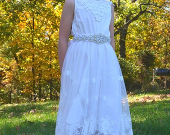 flower girl dress, girl lace dress, cream lace dress, off white lace dress, white, lace dress, long sleeve dress, flower girl dresses