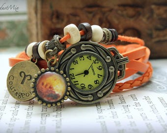 Women watch with Aries zodiac sign charm and ruling planet Mars leather bracelet ladies watch gift for her boho watch festival watch