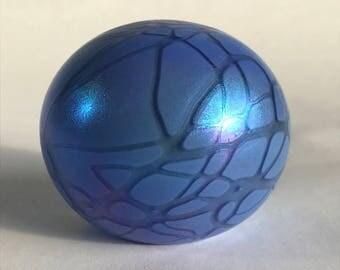 Blue Iridescent Mount St. Helens Ash Art Glass Paperweight