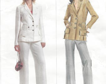 Guy Laroche Womens Jacket with Waist Detail and Contour Waist Pants Vogue Sewing Pattern V2856 Size 8 10 12 Bust 31 1/2 to 34 Paris Original