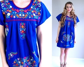 vintage 70s Bright Blue MEXICAN colorful EMBROIDERED DRESS xs/small ethnic boho hippie festival bright