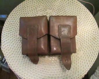 Vintage Army Ammo Pouches Leather Military Double Belt Pouches