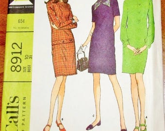 Vintage 1960s Sewing Pattern McCall's 8912 Sectioned Sheath, Mod Slim Dress Sleeve Options Womens Misses Size 10 Bust 31 Uncut Factory Folds