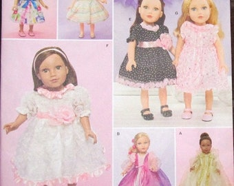 "Faith van Zanten Craft Sewing Pattern Simplicity 1297 18"" Doll Clothes Wardrobe Party Dresses, Gowns, Fits AG Type Girl Uncut Factory Folds"