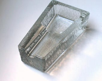 Modernist Icy Textured Glass Cigar Ashtray Ice Block Holdall Art Glass Dish