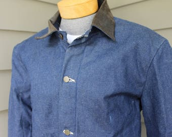 vintage 1980's -Big Ben- Ranch jacket / chore coat. 'New Old Stock'. Denim - Corduroy collar - Blanket lined. Size 40 - 42. Made in USA.