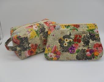 Flower Garden Bag, Gardner's Pouch, Toiletry Bag, Cosmetics Clutch, Dopp Kit, Ditty Bag, Wet Sack, Zip Pouch - Choose Style & Size