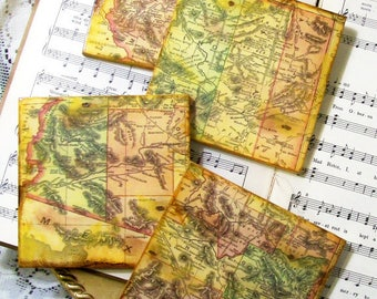 Arizona Historical Map Coasters Circa 1895 Wood Tile Coasters Antiqued Map Housewarming Gift Set of 4 History and Map Lovers Gifts for Him