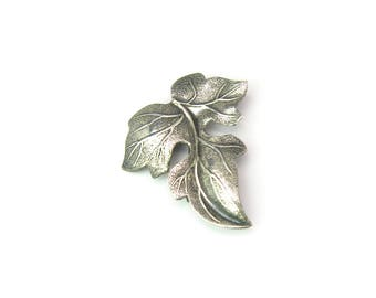 Sterling Silver Hops Style Leaf Brooch. Textured, Embossed, Repousse. Vintage 1970s Botanical Artisan Jewelry. Gardener or Brewer Gift Idea