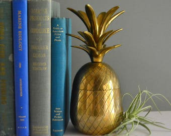 Brass 8.5 Inch Pineapple Container Or Candle Holder - Shiny Gold Mid Century Home Decor 8 1/2""