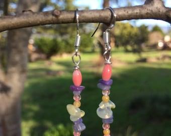 Coral, Lepidolite, Amethyst, Cherry Quartz, Citrine and Agate Earrings