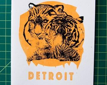 Detroit Tigers Card--blank inside--hand silkscreened