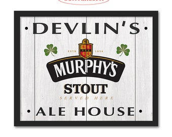 Murphy's Irish Stout Pub Sign - Customizable with your Name or Town - Rustic wood sign - Murphy's beer bar sign - Man cave home bar decor