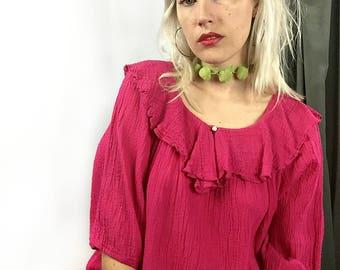 Vintage Pink Cotton Gauzy Flowy Boho Dress size Medium // Large // Extra Large