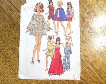 1960s Maddie MOD or Barbie Doll Fashion Wardrobe - VINTAGE Sewing Pattern Simplicity 8466