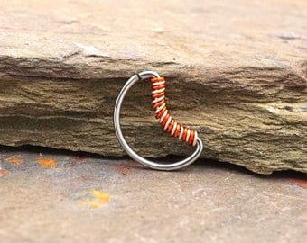 Crescent Moon Silver Ring Rose Gold Daith Piercing Rook Earring Hoop
