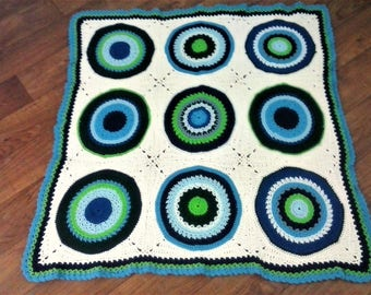 Geometric Circles in Squares Afghan - Textured Blue and Green Spectrum Throw